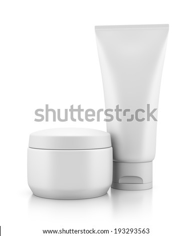 Tube and jar of body cream isolated on white background with reflection effect. Make-up, beauty, hygiene and cosmetics illustration. - stock photo