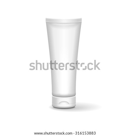 Tube Of Cream Or Gel Grayscale White Clean. Ready For Your Design. Product Packing   - stock photo