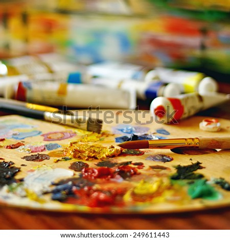 tubes of bright oil paints - stock photo