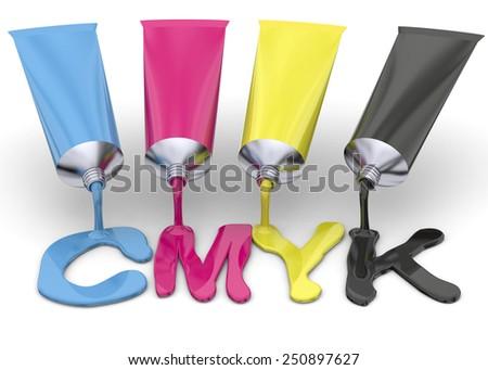 Tubes of CMYK ink on white background - stock photo