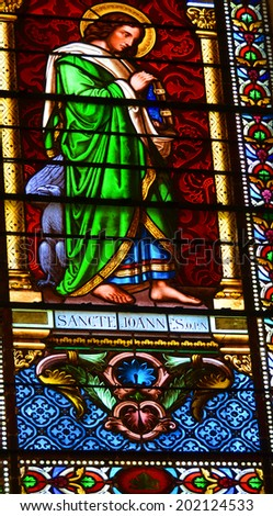 TUCSON ARIZONA APRIL 24: Stained glass window Cathedral of Saint Augustine on april 23 2014 in Tucson Arizona USA Saint Augustine Cathedral is the mother church of the Roman Catholic Diocese of Tucson - stock photo