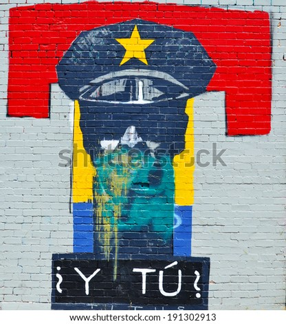 TUCSON AZ USA APRIL 24:Tucson T on wall on april 24 2014 in Tucson Arizona. Downtown Tucson is the place to experience the culture of the city. You can see the opera or ballet, street and public art - stock photo