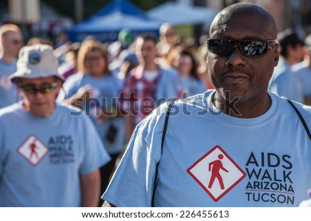 TUCSON, AZ/USA - OCTOBER 12:  Walker at AIDSwalk on October 12, 2014 in Tucson, Arizona, USA. - stock photo