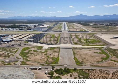 Tucson International Airport approach and runway - stock photo