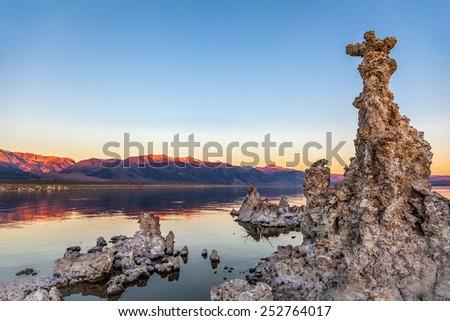 Tufa columns at sunrise, Mono Lake, California - stock photo