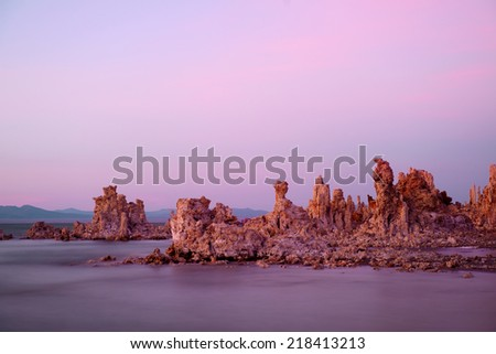 Tufa Tower in Mono Lake after sunset - stock photo