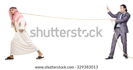 Tug of war concept isolated on white - stock photo
