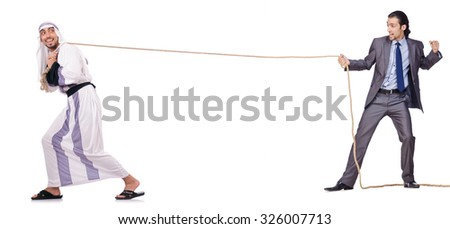 Tug of war concept on white - stock photo