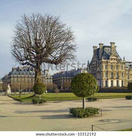 Tuillery Garden, details of Louvre and Rivoli on background,Paris,January 2008 - stock photo