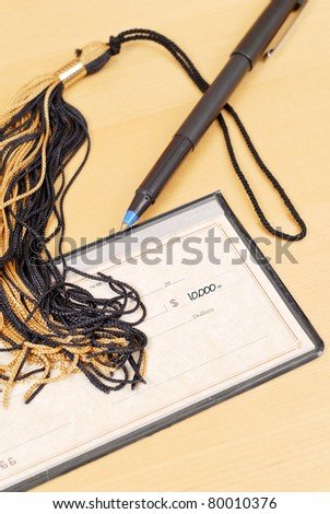 Tuition Payment Check of 10,000 Dollars - stock photo