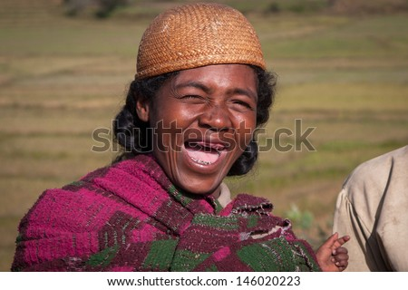 TULEAR, MADAGASCAR - APR 30:Unidentified Malagasy woman at the market Tulear in the south of Madagascar on April 30, 2009.  - stock photo