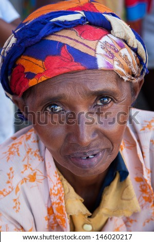 TULEAR, MADAGASCAR - MAY 01:Unidentified Malagasy woman at the market Tulear in the south of Madagascar on May 01, 2009.  - stock photo