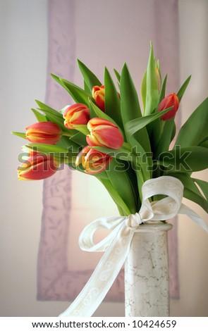 Tulip arrangement - stock photo