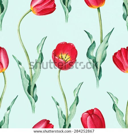 Tulip flowers. Watercolor seamless pattern - stock photo