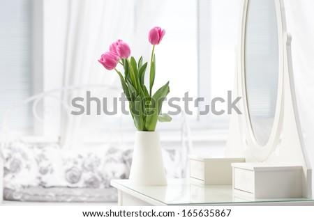 tulip in room - stock photo