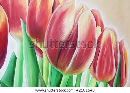 tulip painting - stock photo