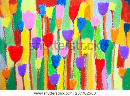 Tulips. Abstract color painting. Hand-drawn illustration. Color oil pastels on watercolor paper. - stock photo