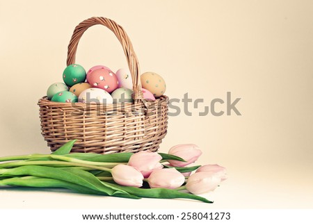 Tulips and easter eggs  - stock photo