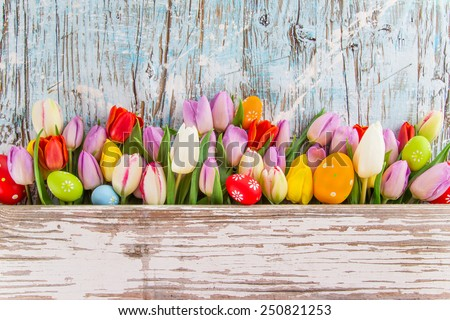 tulips and easter eggs on wooden background, close-up. - stock photo