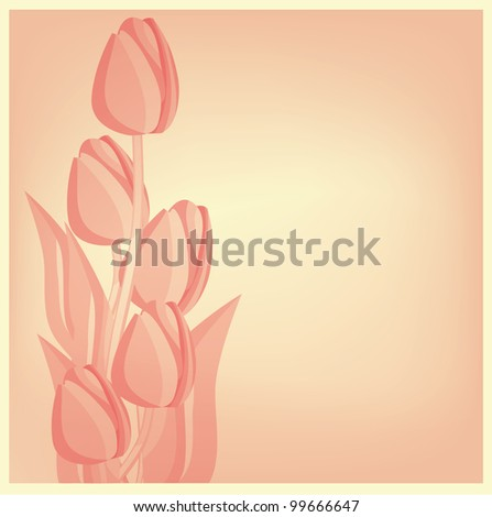 Tulips card background. eps 10 files - stock photo