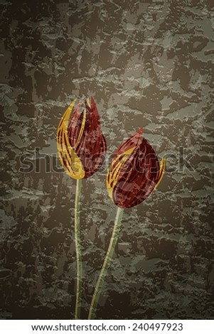 Tulips. Graffiti illustration with flowers on brown grungy background - stock photo