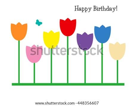 Tulips - Happy Birthday! - stock photo