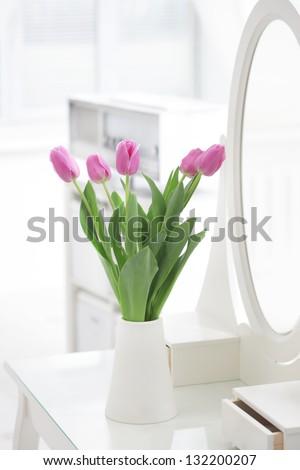 tulips in room - stock photo