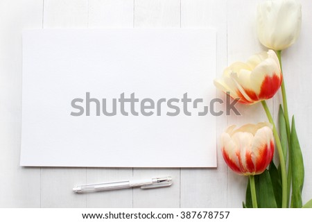 Tulips Mockup. Post blog social media. Top view with blank paper. Banner template layout mockup. White wooden background - stock photo