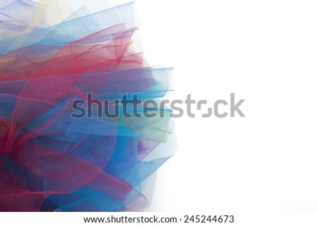 tulle fabric isolated on white background - stock photo