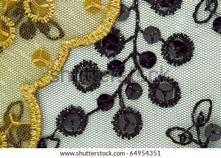 tulle with sequins embroidery texture - stock photo