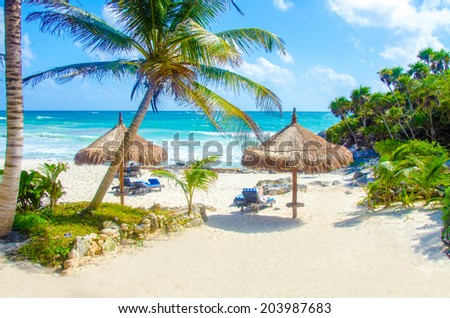 Tulum Beach at Penisula Yucatan in Mexico - stock photo