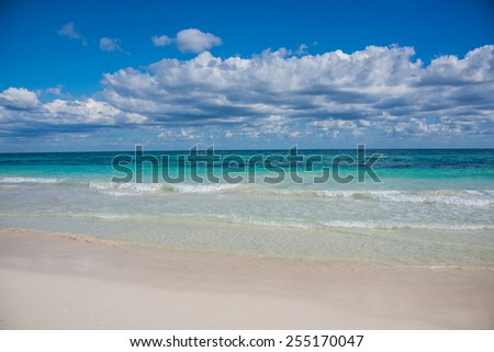 Tulum beach view, caribbean paradise, at Quintana Roo, Mexico. - stock photo