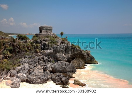 Tulum beach with Maya temple, Mexico - stock photo