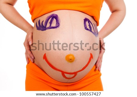tummy of pregnant woman isolated on white - stock photo