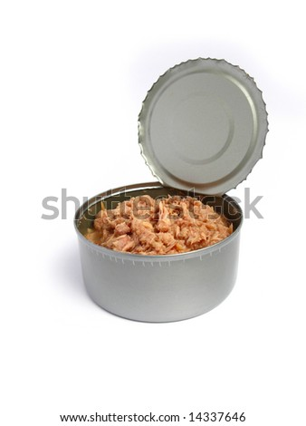 Tuna can open on isolated background - stock photo