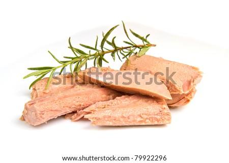 tuna fish isolated on white background - stock photo