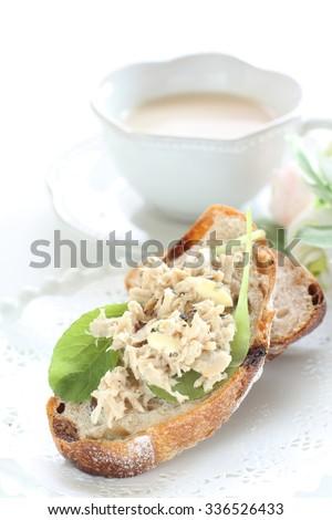 Tuna fish sandwich with milk tea - stock photo