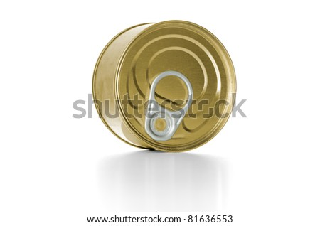 Tuna fish tin can on white background. - stock photo
