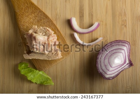 Tuna on wood spoon with onion and lettuce - stock photo