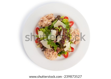 Tuna salad cooked with thousand island, isolated on white. - stock photo