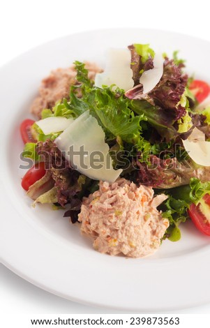 Tuna salad cooked with thousand island, on white. - stock photo