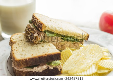 Tuna salad sandwich with ripple potato chips and a glass of milk - stock photo