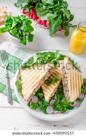 Tuna salad sandwitch with lamb's lettuce and radishes - stock photo