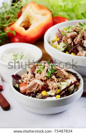 tuna salad with red pepper - stock photo
