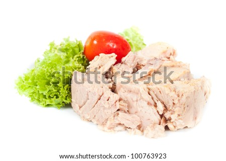 Tuna steak on  white background with vegetables - stock photo