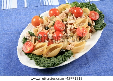 Tuna with pasta and vegetables - stock photo