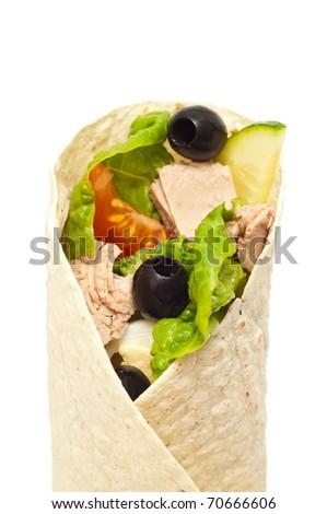 Tuna wrap isolated on white - stock photo
