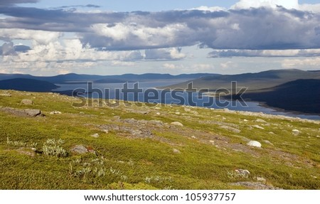 Tundra Landscape near the Kungsleden trail in northern Sweden (Lapland) - stock photo
