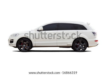 Tuned luxury SUV isolated on white - stock photo