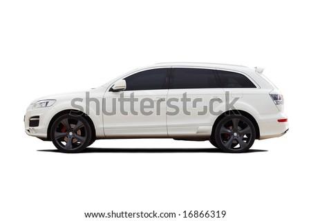 Tuned luxury SUV isolated on white - stock photo